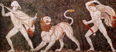 ライオンを狩るアレキサンダーとクラテロス